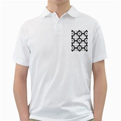 Floral Illustration Black And White Golf Shirts