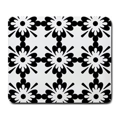 Floral Illustration Black And White Large Mousepads