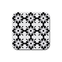 Floral Illustration Black And White Rubber Square Coaster (4 Pack)