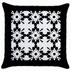 Floral Illustration Black And White Throw Pillow Case (black)