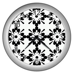 Floral Illustration Black And White Wall Clocks (silver)