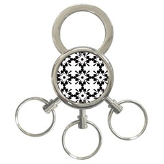 Floral Illustration Black And White 3 Ring Key Chains