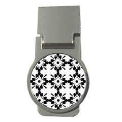 Floral Illustration Black And White Money Clips (round)