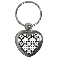 Floral Illustration Black And White Key Chains (heart)
