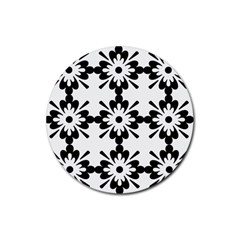 Floral Illustration Black And White Rubber Coaster (Round)