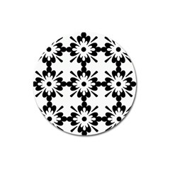 Floral Illustration Black And White Magnet 3  (Round)