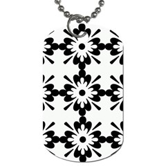 Floral Illustration Black And White Dog Tag (two Sides)