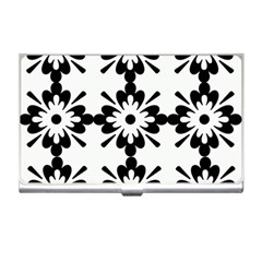 Floral Illustration Black And White Business Card Holders