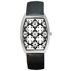 Floral Illustration Black And White Barrel Style Metal Watch