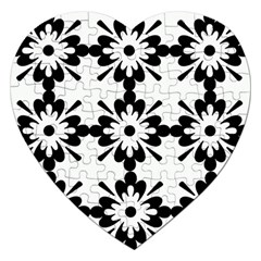 Floral Illustration Black And White Jigsaw Puzzle (heart)