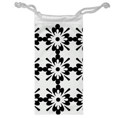 Floral Illustration Black And White Jewelry Bag