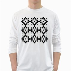 Floral Illustration Black And White White Long Sleeve T Shirts