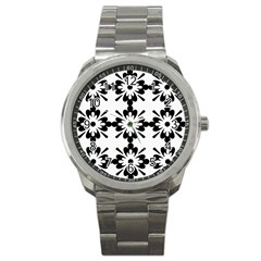 Floral Illustration Black And White Sport Metal Watch