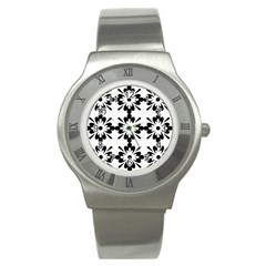 Floral Illustration Black And White Stainless Steel Watch