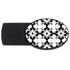 Floral Illustration Black And White Usb Flash Drive Oval (4 Gb)