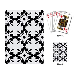 Floral Illustration Black And White Playing Card