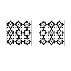 Floral Illustration Black And White Cufflinks (square)