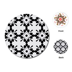Floral Illustration Black And White Playing Cards (round)