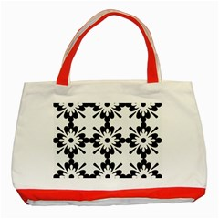 Floral Illustration Black And White Classic Tote Bag (Red)