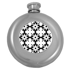 Floral Illustration Black And White Round Hip Flask (5 Oz)
