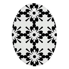 Floral Illustration Black And White Oval Ornament (two Sides)