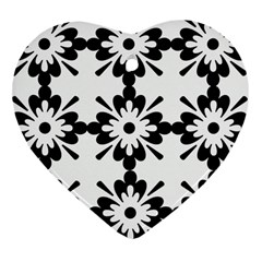 Floral Illustration Black And White Heart Ornament (two Sides)