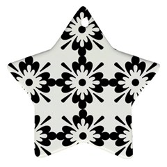 Floral Illustration Black And White Star Ornament (two Sides)