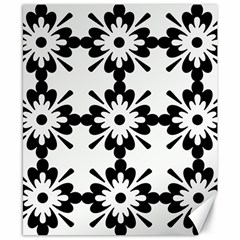 Floral Illustration Black And White Canvas 8  x 10