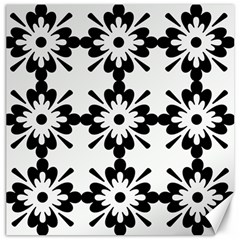 Floral Illustration Black And White Canvas 20  X 20