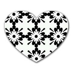 Floral Illustration Black And White Heart Mousepads