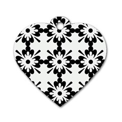 Floral Illustration Black And White Dog Tag Heart (two Sides)