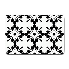 Floral Illustration Black And White Small Doormat