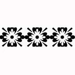 Floral Illustration Black And White Large Bar Mats