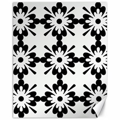 Floral Illustration Black And White Canvas 11  X 14