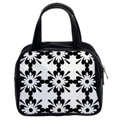 Floral Illustration Black And White Classic Handbags (2 Sides)