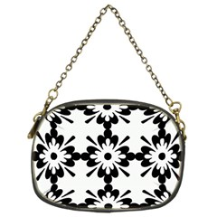 Floral Illustration Black And White Chain Purses (two Sides)