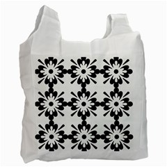 Floral Illustration Black And White Recycle Bag (one Side)