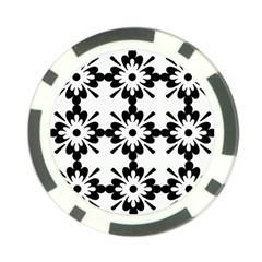 Floral Illustration Black And White Poker Chip Card Guard (10 Pack)
