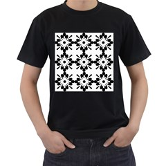 Floral Illustration Black And White Men s T Shirt (black)