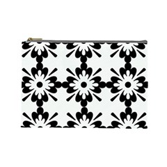 Floral Illustration Black And White Cosmetic Bag (large)