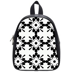 Floral Illustration Black And White School Bags (small)