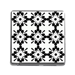 Floral Illustration Black And White Memory Card Reader (square)