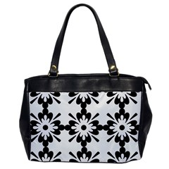 Floral Illustration Black And White Office Handbags