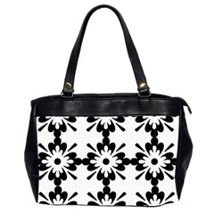 Floral Illustration Black And White Office Handbags (2 Sides)