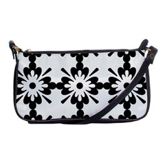 Floral Illustration Black And White Shoulder Clutch Bags
