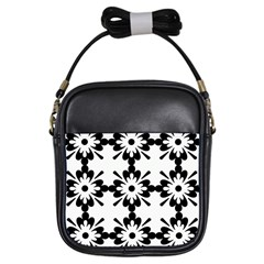Floral Illustration Black And White Girls Sling Bags