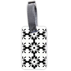 Floral Illustration Black And White Luggage Tags (one Side)