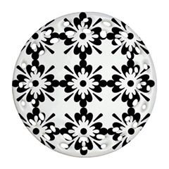 Floral Illustration Black And White Round Filigree Ornament (two Sides)
