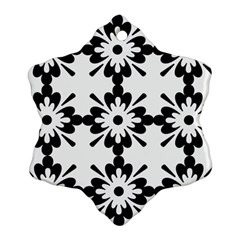 Floral Illustration Black And White Snowflake Ornament (two Sides)