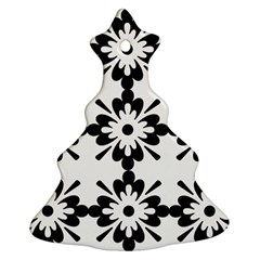 Floral Illustration Black And White Christmas Tree Ornament (two Sides)